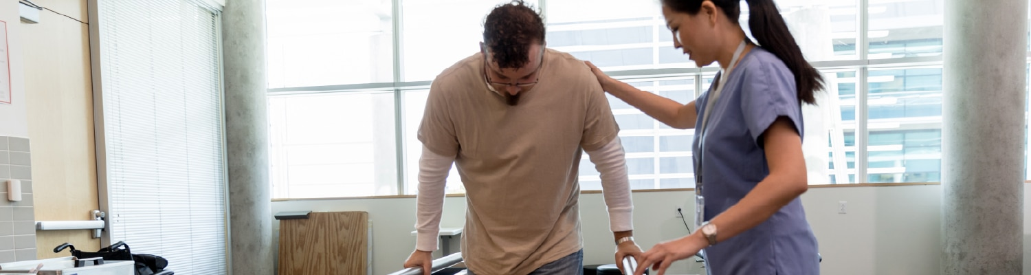 Injured worker receiving rehab therapy