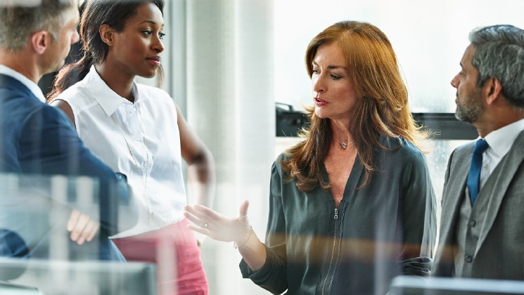 Two businesswomen talking